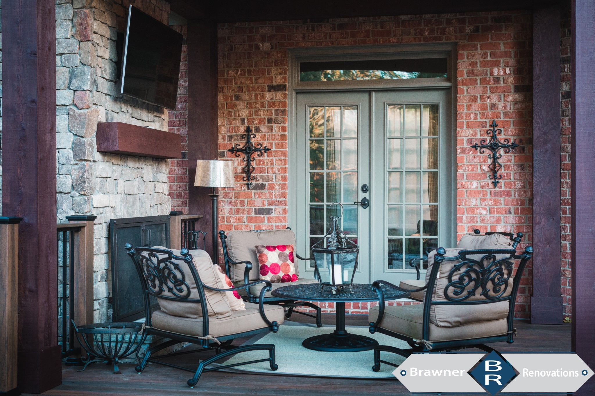 Brawner Renovations Outdoor Living Cobb County Smyrna Georgia Custom Covered Porch Cable Cedar Beams Cedar Board and Batten Custom Stone Fireplace With Cedar Mantle Image Porch