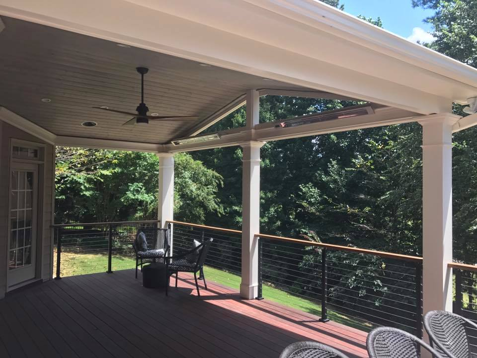 Brawner Renovations Outdoor Living Paulding County Acworth Georgia Custom Covered Porch Cable Railing Infratech Heaters Versatex Column Wraps Image Inside 2
