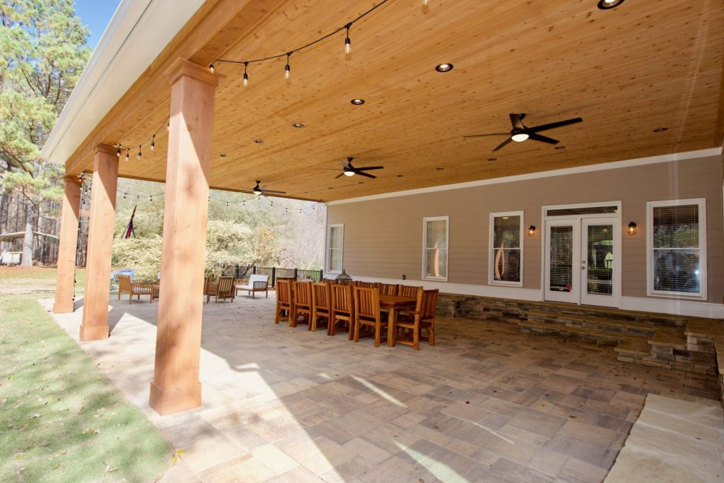 Brawner Renovations Outdoor Living Cobb County Marietta Georgia Custom Cedar Porch Belgard Pavers Custom Porch Image Corner