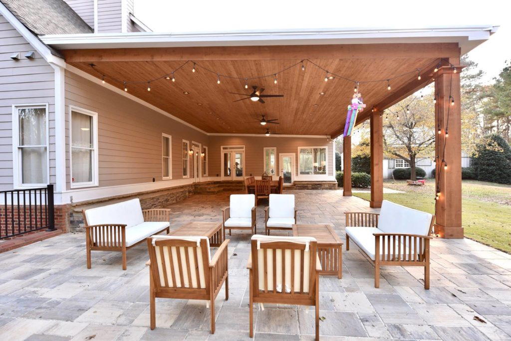 Brawner Renovations Outdoor Living Cobb County Marietta Georgia Custom Cedar Porch Belgard Pavers Custom Porch Image Side