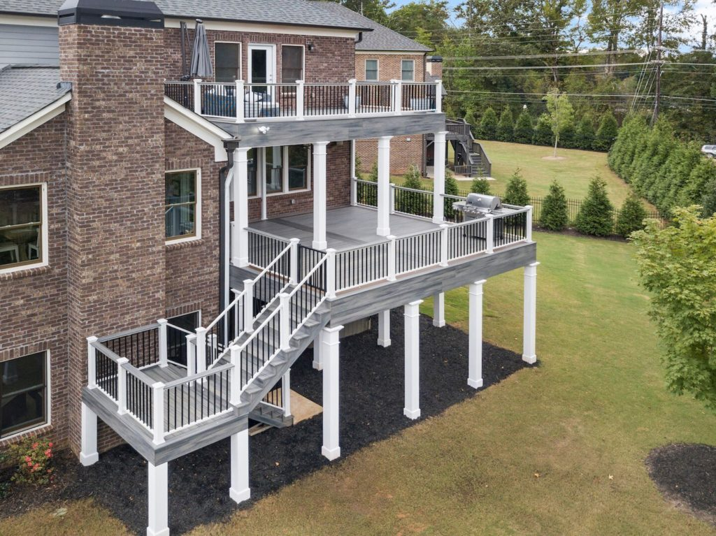 Brawner Renovations Outdoor Living Cobb County Marietta Georgia Double Decker Trex Deck Island Mist With Signature Aluminum Railing Custom Deck Image Drone Side