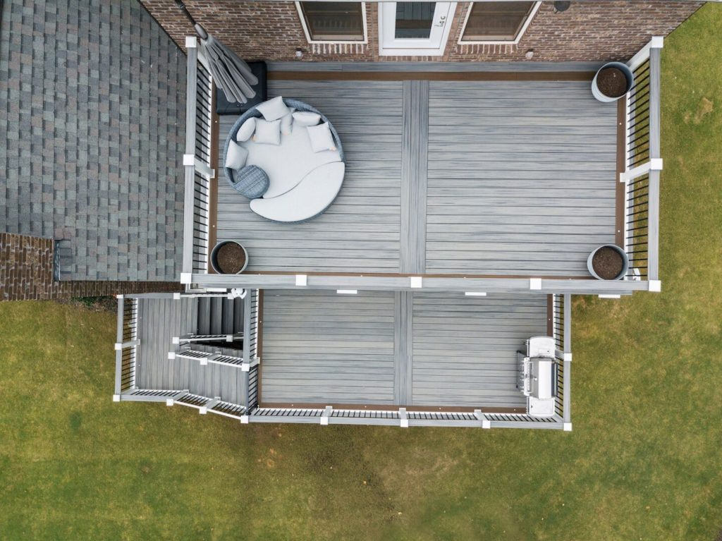 Brawner Renovations Outdoor Living Cobb County Marietta Georgia Double Decker Trex Deck Island Mist With Signature Aluminum Railing Custom Deck Image Above
