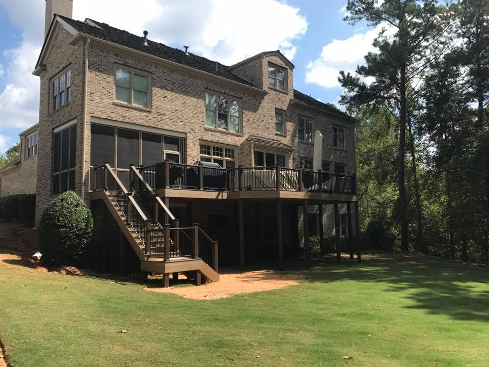 Brawner Renovations Fulton County Georgia North Fulton TimberTech Legacy Custom Deck Tiger Wood Color Full Deck