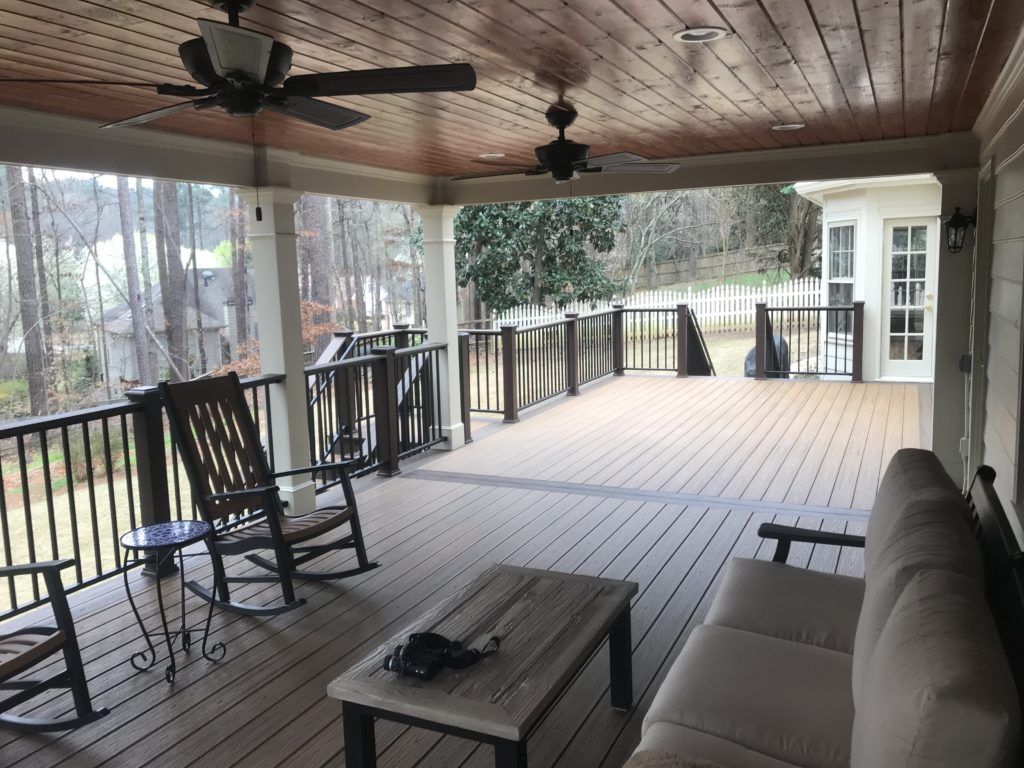 Brawner Renovations Outdoor Living Cobb County Kennesaw Georgia TrexPro Deck Trex Havana Gold & Spiced Rum Custom Porch Image Inside