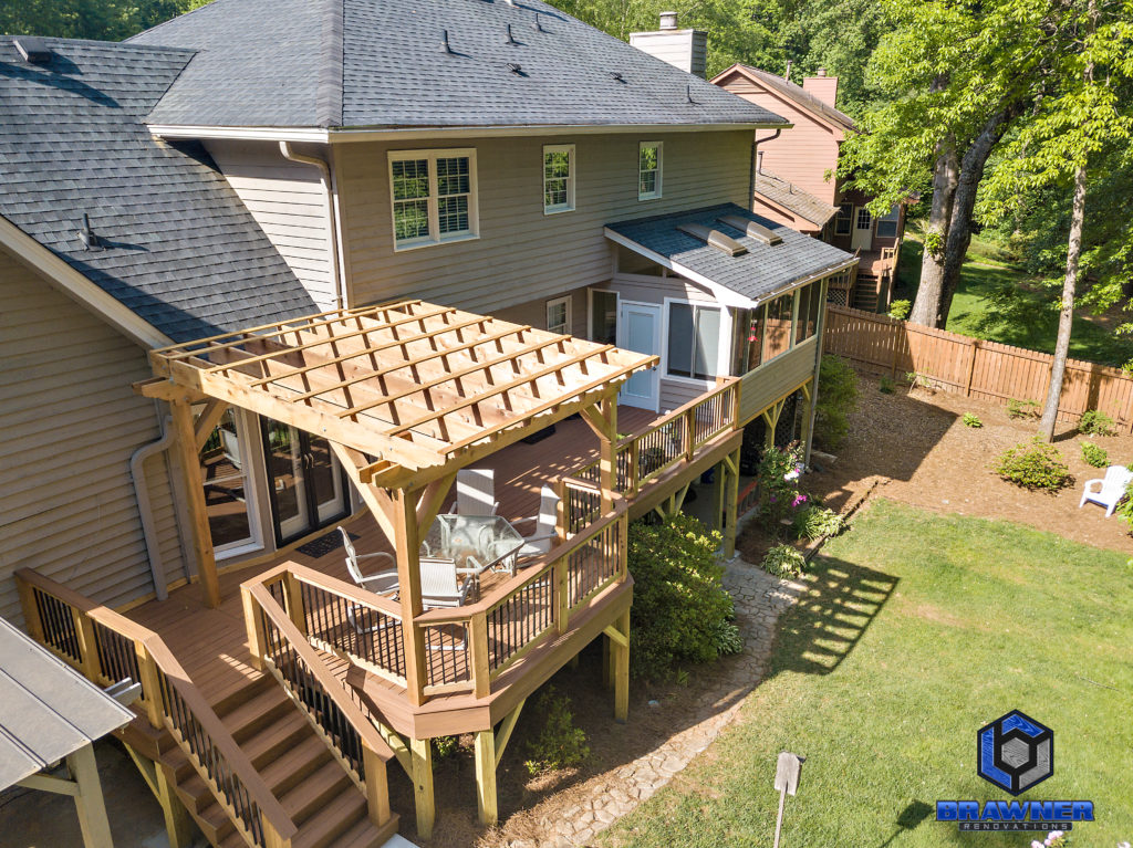 Brawner Renovations Outdoor Living Cobb County Marietta Georgia Trex Deck Transcend Tiki Torch Cedar Posts and Railings Deckorators Aluminm Balusters 6