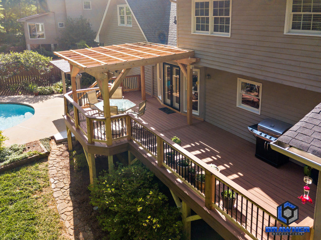 Brawner Renovations Outdoor Living Cobb County Marietta Georgia Trex Deck Transcend Tiki Torch Cedar Posts and Railings Deckorators Aluminum Balusters 3