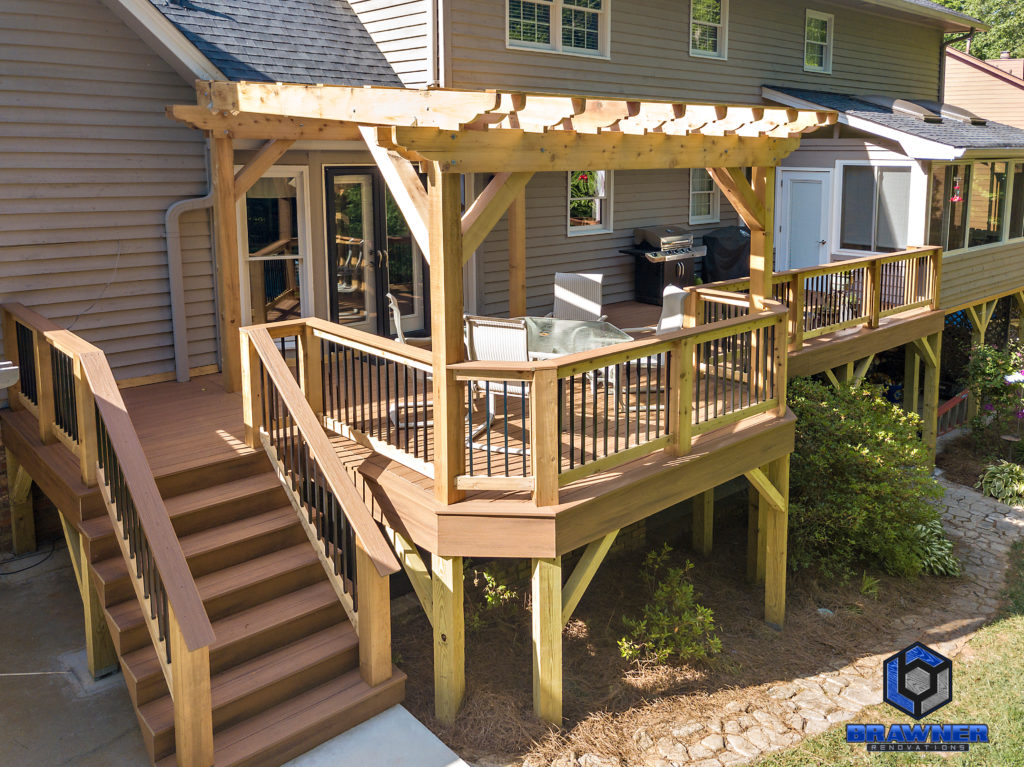 Brawner Renovations Outdoor Living Cobb County Marietta Georgia Trex Deck Transcend Tiki Torch Cedar Posts and Railings Deckorators Aluminum Balusters 1