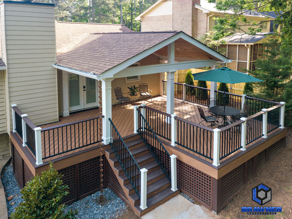 Brawner Renovations Outdoor Living Cobb County Marietta Georgia Trex Deck Transcend Tiki Torch Vintage Lantern accents Signature Aluminum Railing Tongue and Groove Ceiling Full Porch 4