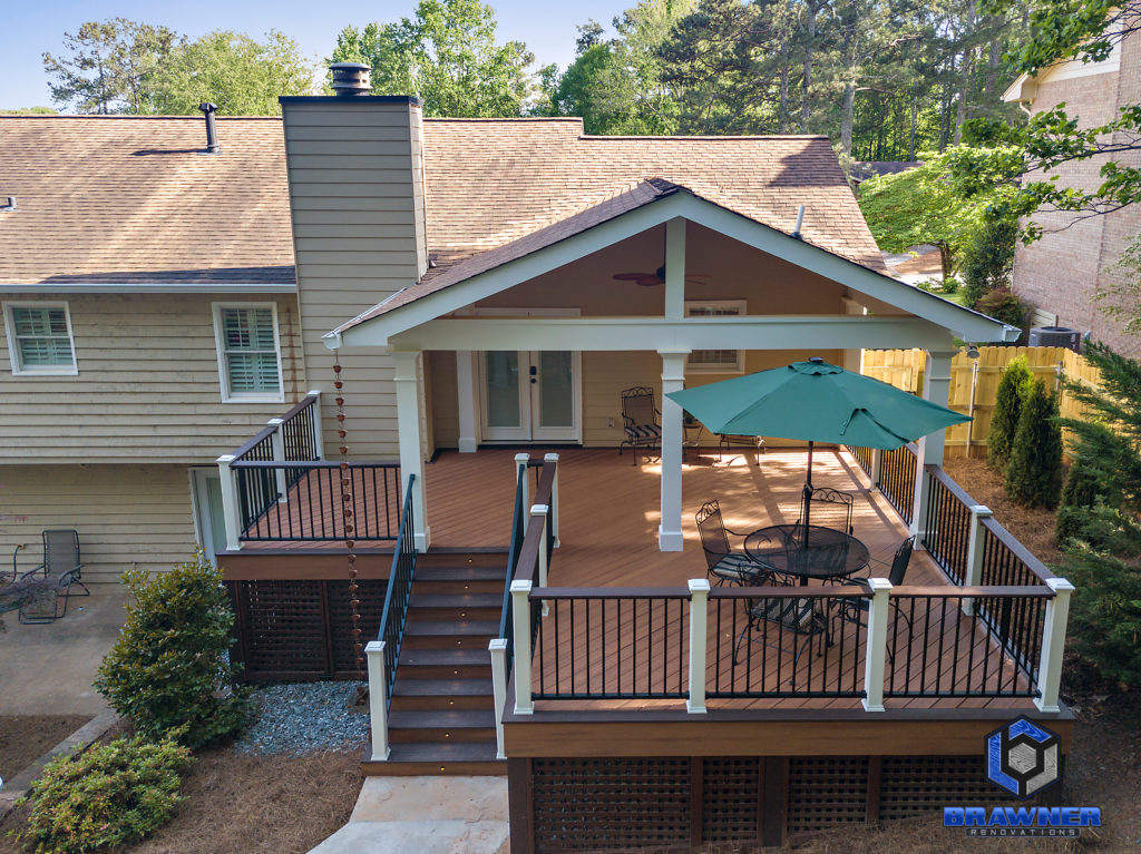 Brawner Renovations Outdoor Living Cobb County Marietta Georgia Trex Deck Transcend Tiki Torch Vintage Lantern accents Signature Aluminum Railing Tongue and Groove Ceiling Full Porch 3