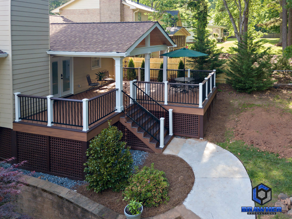 Brawner Renovations Outdoor Living Cobb County Marietta Georgia Trex Deck Transcend Tiki Torch Vintage Lantern accents Signature Aluminum Railing Tongue and Groove Ceiling Full Porch 2